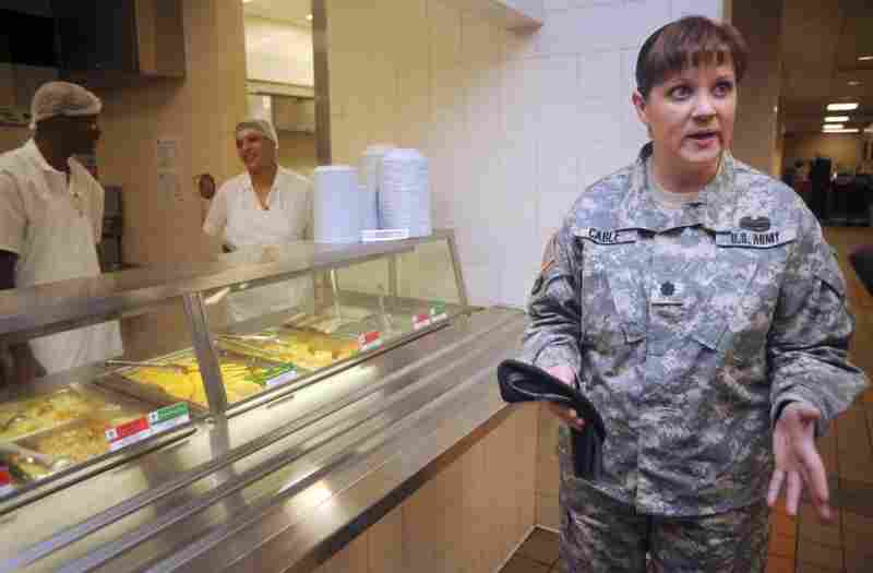 Lt. Col. Sonya Cable helped design the Army's new nutrition program. Soon, at every basic training post, color-coded stickers will be used to rate every bit of the food.