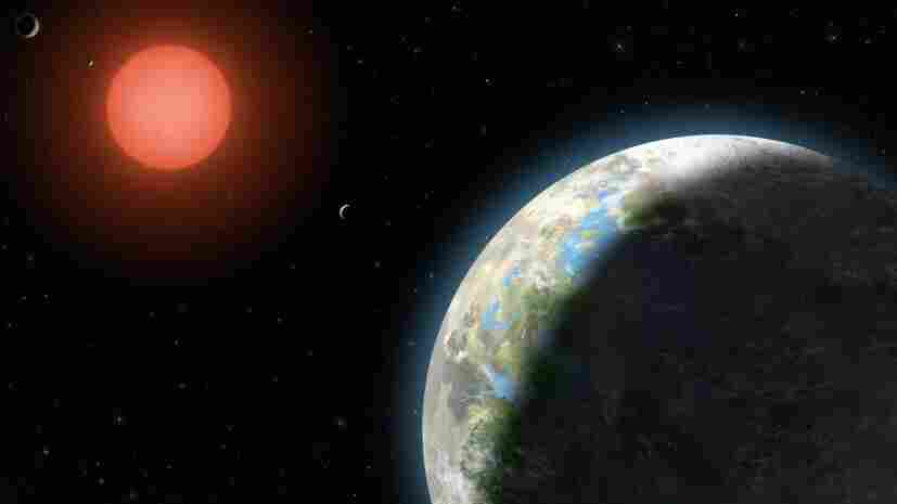 The inner four planets of the Gliese 581 system orbit the host star, a red dwarf 20 light-years from Earth, in this rendering from a National Science Foundation artist. The planet in the foreground has a 37-day orbit and -- like Earth -- is far enough from the star for liquid water to exist.