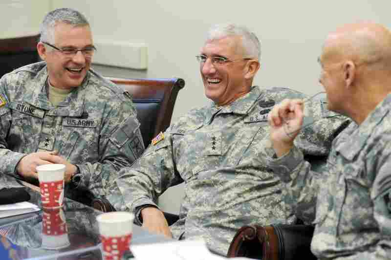 Army Deputy Surgeon General Maj. Gen. Richard Stone (from left), Lt. Gen. Mark  Hertling and Maj. Gen. David Quantock laugh together at Fort Leonard Wood, Mo. The U.S. Army plans to get new recruits into better shape with a revamped approach to health, fitness and diet at basic training.