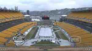 "Screengrab from NHL.com time-lapse video of the rink being constructed in Pittsburgh for this year's ""Winter Classic."""