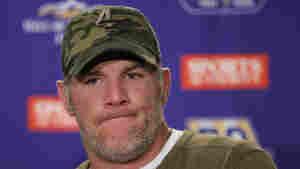 Minnesota Vikings quarterback Brett Favre talks to the media on Dec. 13, 2010.