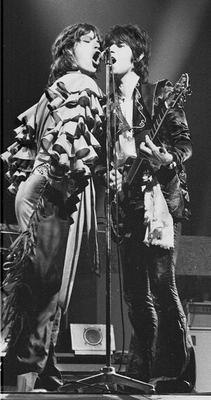 Mick Jagger and Keith Richards onstage in Frankfurt, Germany in 1976.