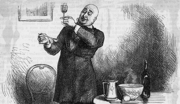 "Cheers, Charles Dickens: In this illustration titled ""Micawber in his element,"" Mr. Micawber makes punch after the dinner party thrown for him by David Copperfield. Charles Dickens, author of David Copperfield, was a punch aficionado."