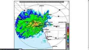 National Weather Service radar image, from 7:41 a.m. ET on Dec. 29, of storms moving over Los Angeles.