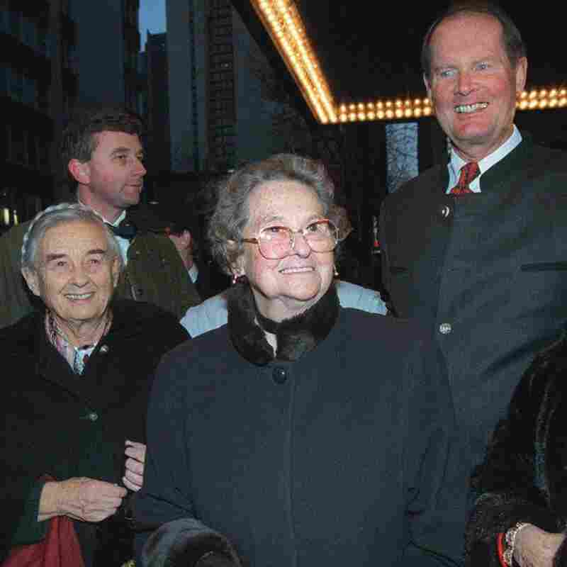 Agathe von Trapp, center, with her sister, Maria, and brother, Johannes, right, at the Martin Beck Theatre to see the reopening of the Broadway musical 'The Sound of Music' on March 12, 1998, in New York.