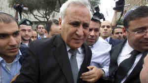 Former Israeli president Moshe Katsav, as he left the justice court in Tel Aviv earlier today.