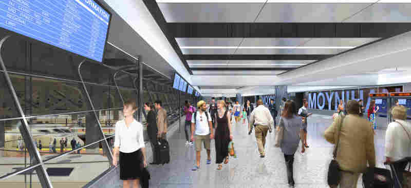 A rendering of the new Moynihan Station Amtrak concourse.