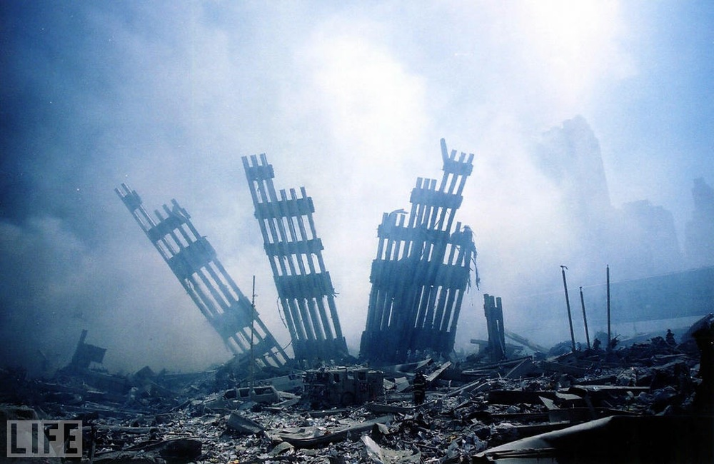 The ruins of what was once the World Trade Center towers became known as Ground Zero -- a smoldering pit in America's financial center -- with the terrorist attacks on Sept. 11, 2001.