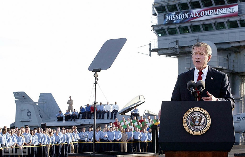 "On May 1, 2003, President George W. Bush declared the end of major combat operations in Iraq, but the words that spoke loudest were on a banner behind him, prematurely announcing, ""Mission Accomplished."""