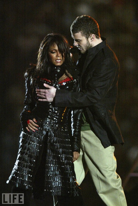 Perhaps one of the most memorable sporting events was the 2004 Super Bowl in 2004. Actually -- not for the game itself, but the halftime show, in which Justin Timberlake tore off part of Janet Jackson's top.