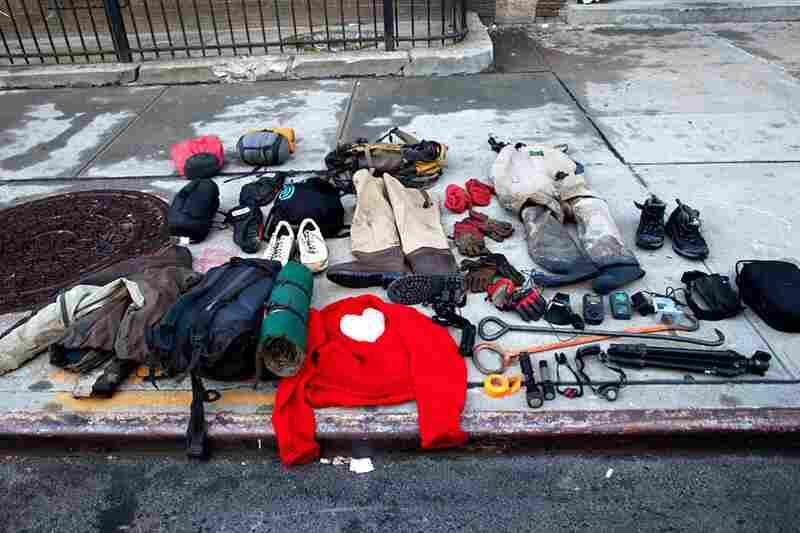 After a fragrant sewer crawl beneath Canal Street, the tools of the trade are displayed on a sidewalk: Manhole hooks, headlamps, chest-waders and air meters. In the center, Kagge's red sweater, probably the most charming clothing ever worn in a sewer.