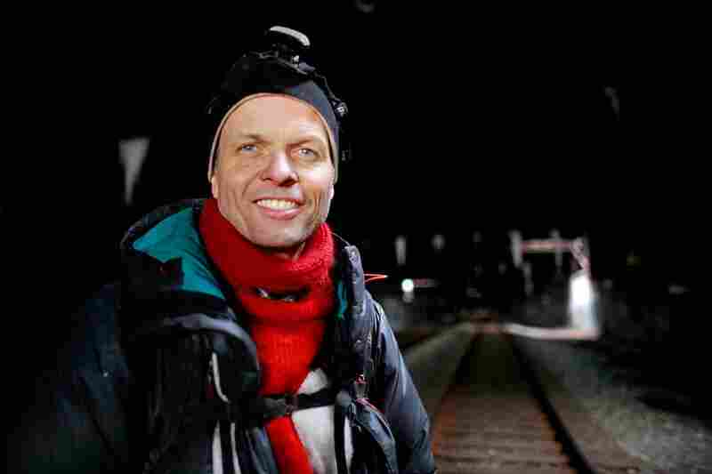 Kagge, here in the West Side Tunnel, has completed the trifecta: He has climbed Everest, hiked the South Pole, and he was the first man to walk alone to the North Pole.