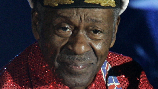 Rock-and-roll legend Chuck Berry fell ill and was escorted off a Chicago stage Saturday night. (AP)