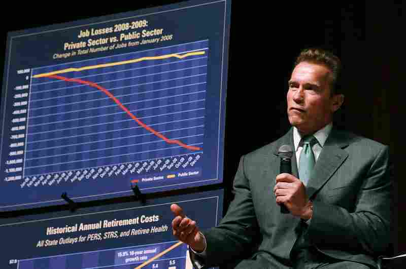 Schwarzenegger talks about the state budget during an Aug. 30 appearance in San Francisco. Some say the governor missed his chance to get the budget under control early on, when he was still popular.