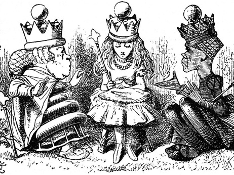An illustration from Lewis Carroll's book Through The Looking Glass and What Alice Found There of the White and Red Queens talking to Alice.