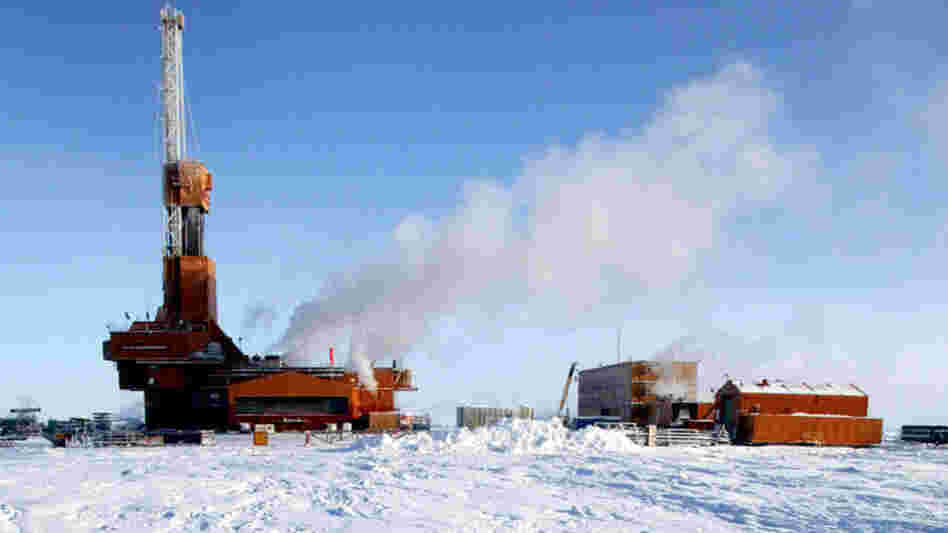 The drilling operation at the Doyon Rig 19 at the Conoco-Phillips Carbon location in the National Petroleum Reserve, Alaska, is shown in an undated file photo.