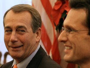 House Speaker-designate John Boehner (R-OH) and House Majority Leader-elect Eric Cantor (R-VA) speak to the media. The House of Representatives will focus more on the constitutional justification for legislation passed in the next session.