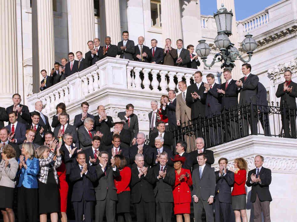 The freshman members of the House pose for a group photo on the steps that lead to the House of Representatives on Capitol Hill, Nov. 19.