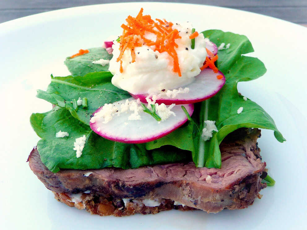 Danish open-face sandwich, or smorrebrod: Beef And Arugula With Horseradish Creme Fraiche