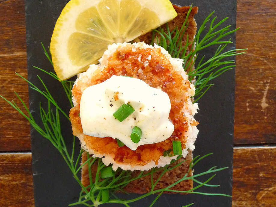 Danish open-face sandwich, or smorrebrod: Smoked Salmon Fish Cakes With Dill And Remoulade