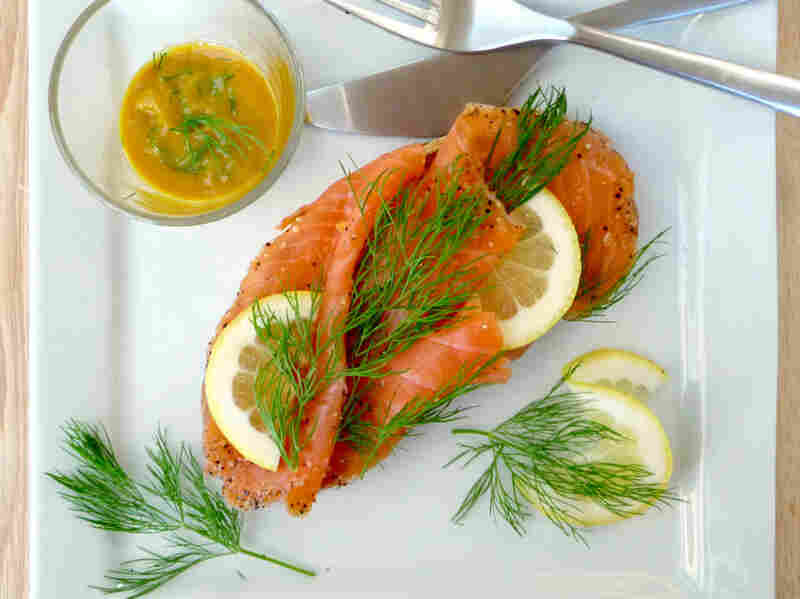 Danish open-face sandwich, or smorrebrod: Gravlax