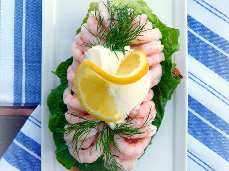 Danish open-face sandwich, or smorrebrod: Shrimp With Dill And Lemon
