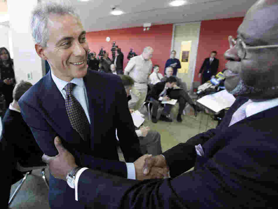 Chicago mayoral candidate Rahm Emanuel after a news conference at the Better Boys Foundation, Tuesday, Jan. 4, 2011.