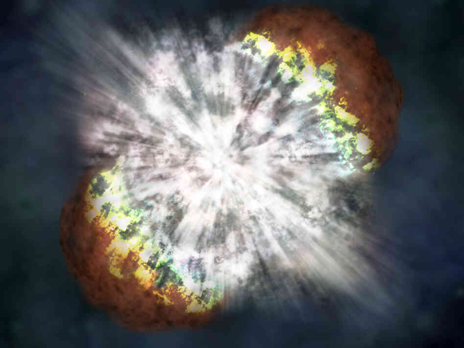 In this 2006 handout provided by NASA, an artist interpretation illustrates the explosion of the brightest supernova ever recorded.