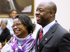 Rep.-elect Tim Scott, R-S.C. with his mother Frances Scott, on Capitol Hill in November 2010.