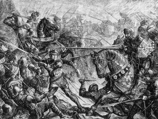 The Battle of Towton during the Wars of the Roses.