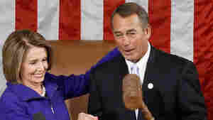 New Speaker of the House John Boehner, R-OH, takes the gavel from outgoing Speaker (now Minority Leader) Nancy Pelosi, D-CA.