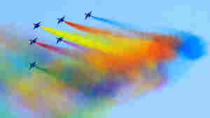 The Chinese People's Liberation Army (PLA) Air Force puts on an air display to mark its 60th birthday in Beijing on November 15, 2009.