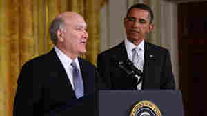President Obama listens as newly appointed White House Chief of Staff William Daley speaks in the East Room of the White House on Thursday.
