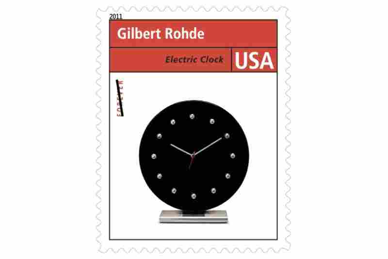 """""""Gilbert Rohde was one of the most influential and innovative furniture designers in the U.S. ... [His designs] included modular and sectional furniture made of wood, chrome, Bakelite, Plexiglass, and other new materials, as well as clocks such as the one shown on the stamp."""""""