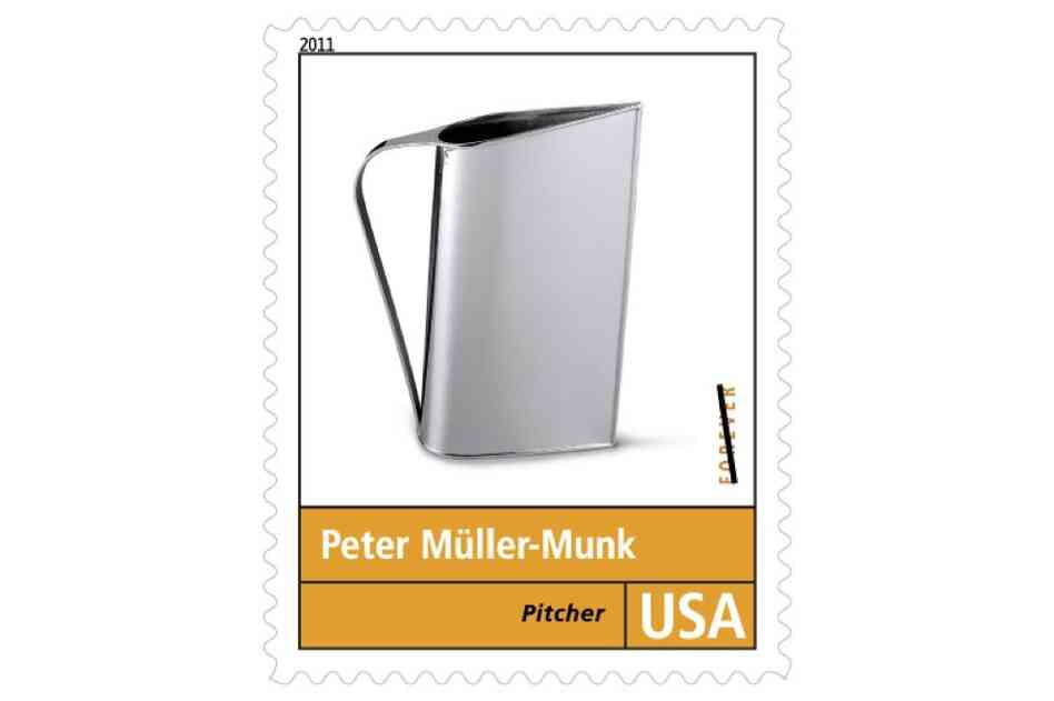 """Peter Muller-Munk is best remembered for the 'Normandie' pitcher featured on the stamp. Introduced ... in 1935, the mass-produced pitcher was made of chromium-plated brass, an alternative to silverware that was affordable and easier to care for."""