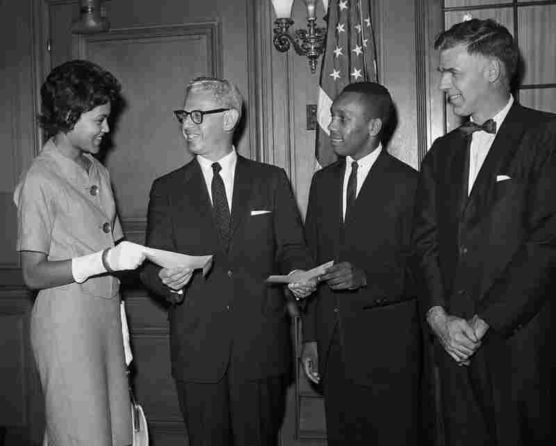 Being the first black female student at the University of Georgia, I had unique opportunities like this one — with Labor Secretary Arthur Goldberg presenting two scholarships. Experiences like this helped me not be intimidated in the face of power later in life, during my career as a journalist.