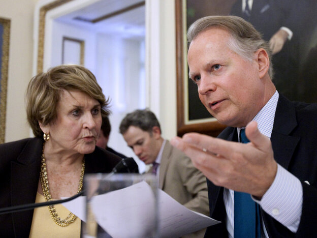 House Rules Committee Chairman Rep. David Dreier, R-CA, talks with previous chair Rep. Louise Slaughter, D-NY, during hearing on health care law repeal bill, Thursday, Jan. 6, 2011.