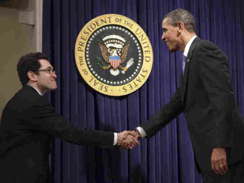President Obama greets Norm Eisen, the White House's ethics czar, in January 2009. Obama used a recess appointment to give Eisen, a friend from law school, the job as U.S. ambassador to the Czech Republic just before Christmas.