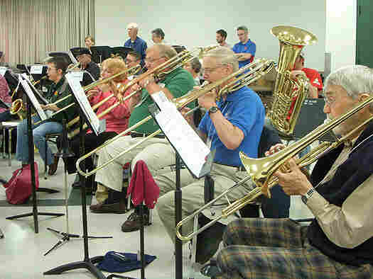 Members of the University of Dayton New Horizons Band rehearse.