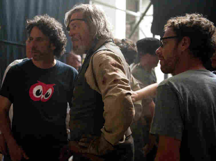 Joel Coen, Jeff Bridges and Ethan Coen on the set of 'True Grit.'