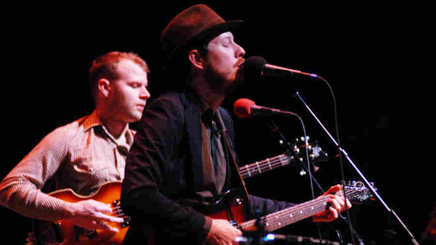 Vetiver, led by Andy Cabic (right), performed on Mountain Stage.
