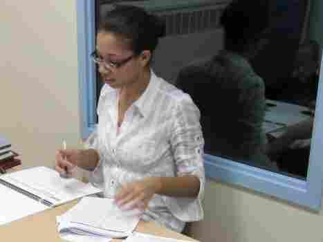 Research associate Jennifer Ledesma from Bellevue Hospital in New York City assesses a child's developmental progress.