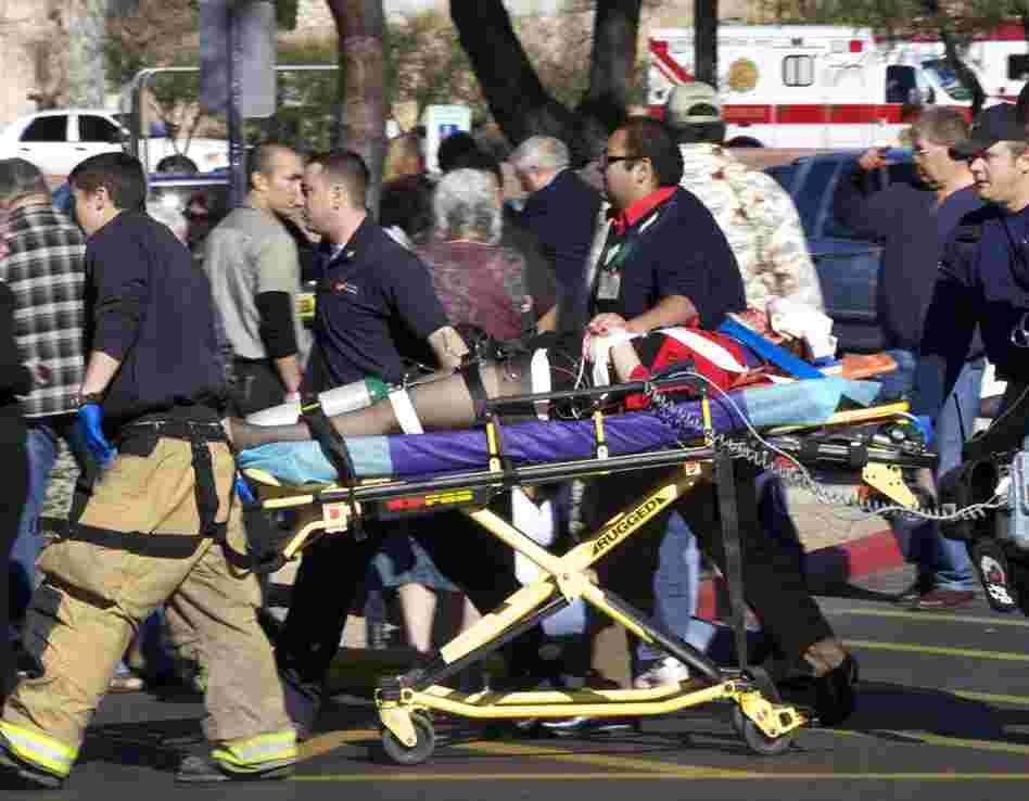The gunman shot 19 people, killing six. Giffords was shot in the head at point blank range but survived.