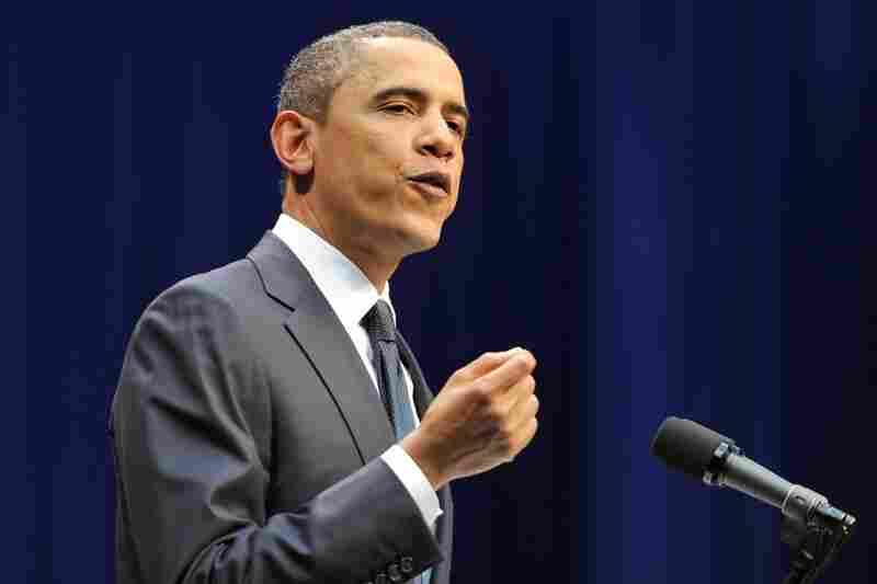 President Obama speaks at the memorial service.