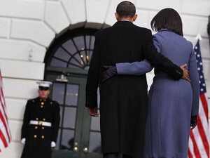President Obama and first lady Michelle Obama depart Monday after observing a moment of silence to