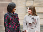Michelle Obama, left, stands with Carla Bruni-Sarkozy last April in Strasbourg, France.
