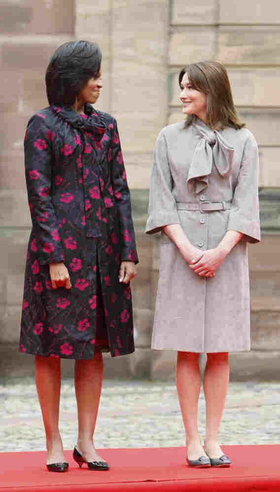 Michelle Obama, left, stands with Carla Bruni-Sarkozy last April in Strasbourg, France.