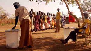 Sudanese vote at Kuli Papa, a village of 600, about an hour's drive South of the Southern Sudanese capital of Juba.