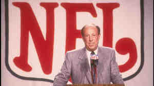 NFL Commissioner Pete Rozelle speaks at a press conference before Super Bowl XXII in 1988. Rozelle was commissioner of the National Football League from January 1960 to November 1989.