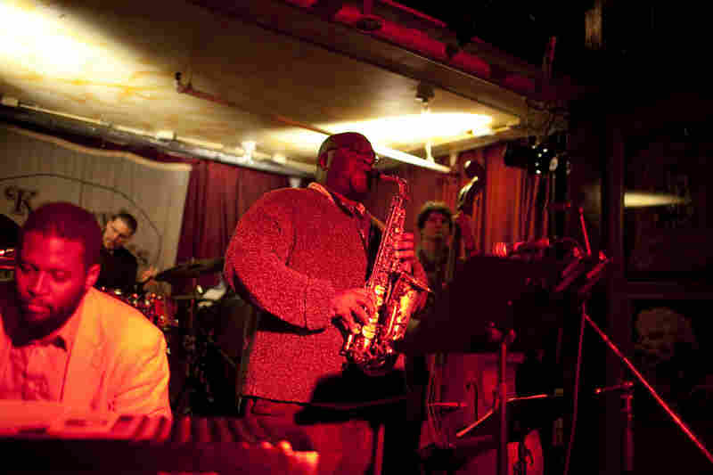 Drummer Mike Pride led his quartet From Bacteria to Boys, with Alexis Marcelo on piano, Darius Jones on alto saxophone and Peter Bitenc on bass.